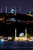 Two Mosques at night